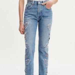 LEVIS 501 BUTTON FLY CRAFTED HIGH LASER CUT JEANS